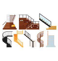 interior wooden stairs store escalator vector image