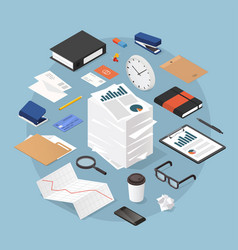 isometric office work vector image
