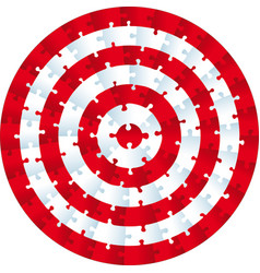 Jigsaw puzzle circle concentric pieces as a vector
