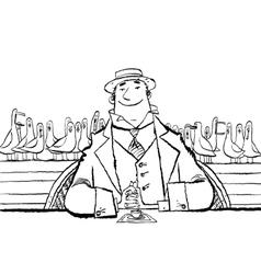 Joyful retro man in a restaurant by the sea vector