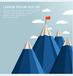 landscape with red flag on top of mountain vector image