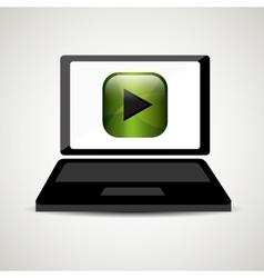 Laptop player music online digital vector