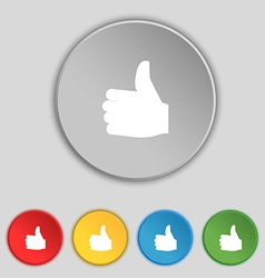 Like Thumb up icon sign Symbol on five flat vector image