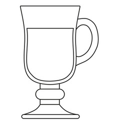 Line art black and white mulled wine glass vector