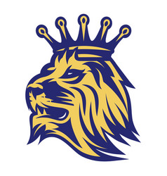 lion head with crown color vector image