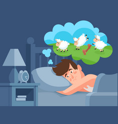 man counts sheep to sleep insomnia cartoon vector image