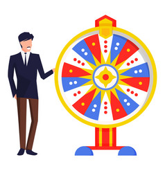 Man playing spinning roulette gambling game vector