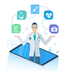 medical program with doctor in smartphone vector image