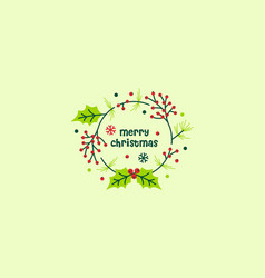merry christmas wreath round circle spruce holly vector image