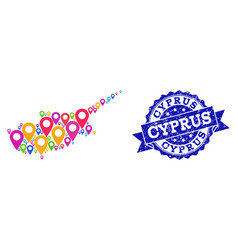 Mosaic map of cyprus island with map pointers and vector