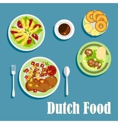 National dutch cuisine dishes and desserts vector