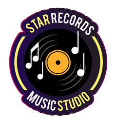 neon star records music studio vinyl disc record b vector image