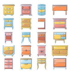 Nightstand bedside icons set cartoon style vector