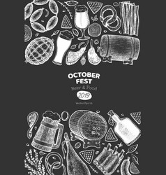 octoberfest banner hand drawn on chalk board vector image
