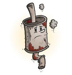 Old rusty muffler cartoon character vector