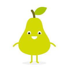 pear cute fruit character vector image