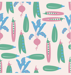 Pink blue and green vegetables in a seamless vector