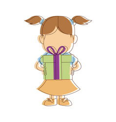 Portrait girl granddaughter young with gift box vector