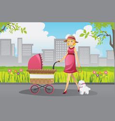 pregnant woman walking vector image