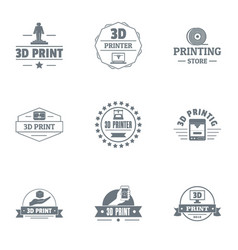 Printer of the future logo set simple style vector
