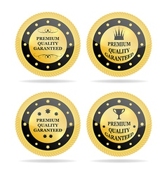 Quality golden badges vector