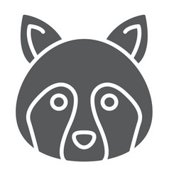 racoon glyph icon animal and zoo coon vector image