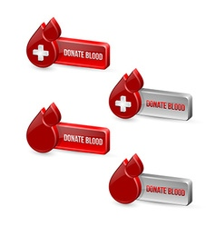 Red blood medical icons with buttons vector