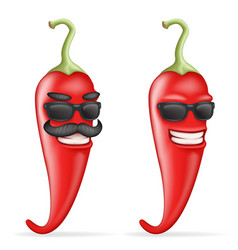 Red cool hot chili pepper sunglasses mustache vector