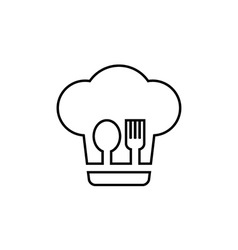 Restaurant symbol chef fork and spoon vector image
