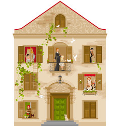 retro stone house with people in windows vector image