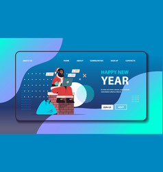 Santa claus with mask sitting on chimney using vector
