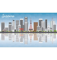 Sapporo Skyline with Gray Buildings vector