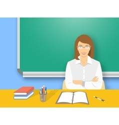 School teacher woman at the desk flat education vector