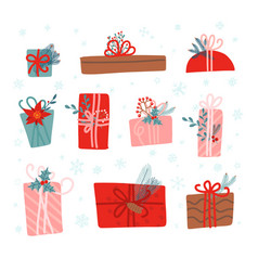 set 10 christmas gifts decorated with plants vector image