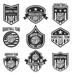 set american basketball team labels emblems vector image