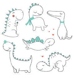 Set of little cute dinos vector