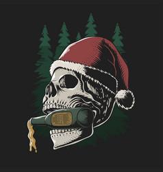 Skull biting beer bottle merry christmas vector