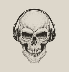 skull in headphones listen a music vector image