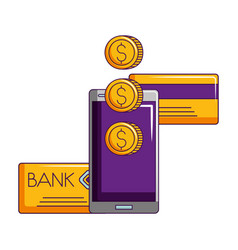 smartphone bank card and coins money vector image