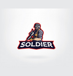 soldier mascot character logo design vector image