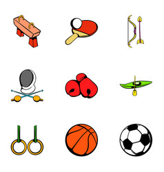 Sport gym icons set cartoon style vector