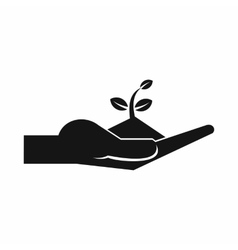 Sprout in the human hand icon simple style vector image