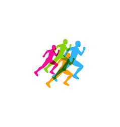team run logo icon design vector image