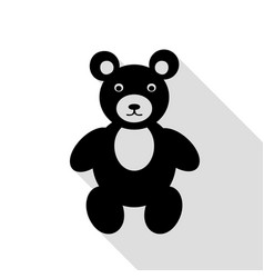 teddy bear sign black icon with flat vector image