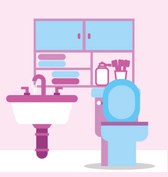 Toilet bowl sink furniture toothbrushes towels vector