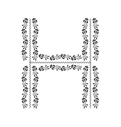 Traditional folklore ornament alphabet letter h vector