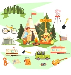 Two Guys Enjoying Camping In Forest Surrounded By vector