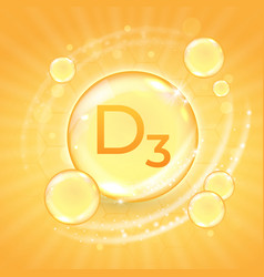 Vitamin d3 supplement shiny golden oil substance vector