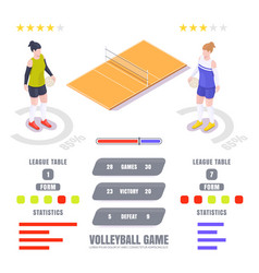 volleyball game statistics ratings vector image