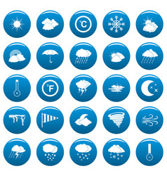 weather icons set blue simple style vector image